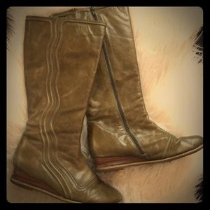 Tall olive green leather boots